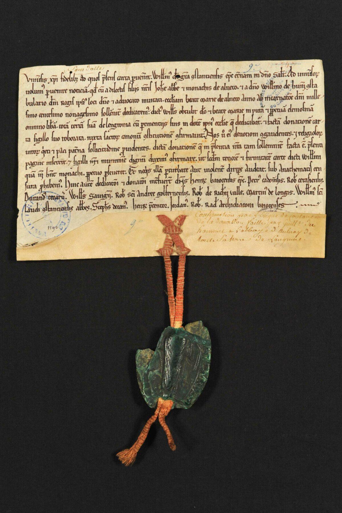 Un acte de Guillaume, évêque de Coutances, donné lors de la dédicace de l'abbaye d'Aunay
